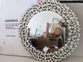 KOHROS Round Antique Wall Mirror   Ornate Glass Framed Venetian Decor Mirror  31 75