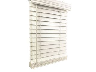 One 2  Cordless Faux Wood Blind 44 5  W x 48  H  Inside Mount  White