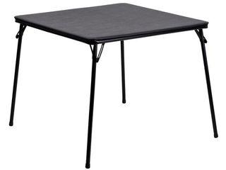 Flash Furniture Folding Card Table  Black Small Tear See Photos