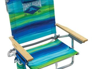 Tommy Bahama 5-position Classic Lay Flat Folding Backpack Beach Chair,red White & Blue Stripe