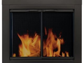 Pleasant Hearth AN 1011 Black Alpine Medium Cabinet Style Fireplace Doors with Clear Tempered Glass