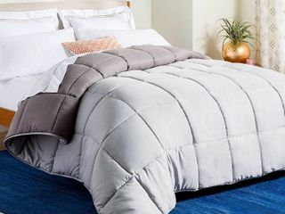 linenspa All Season Reversible Down Alternative Quilted Comforter   Hypoallergenic   Plush Microfiber Fill   Machine Washable   Duvet Insert or Stand Alone Comforter   Stone Charcoal   Oversized King