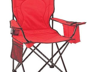 Coleman Oversized Quad Folding Camp Chair with Cooler Pouch  Red