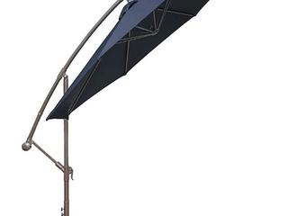 HASlE Outfitters Offset Patio Umbrella   10FT Cantilever Umbrella   Outdoor  Market Umbrella w  Cross Base   Navy