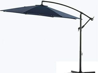 Bluu 10ft Patio Offset Cantilever Umbrella Hanging Market Outdoor with Crank  Navy Blue
