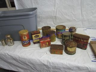 BOX OF OlD TINS