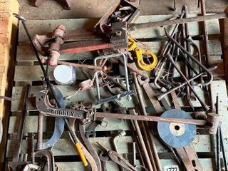 OlD WRENCHES  lEG VISE  C ClAMPS  PRY BARS