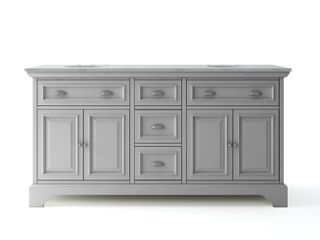 Sadie 67 in. W x 21.5 in. D Vanity in Dove Grey with Marble Vanity Top in Natural White with White Sinks