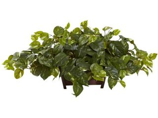 Nearly Natural Pothos leafy Floral Artificial Arrangement With A Rectangle Wooden Base