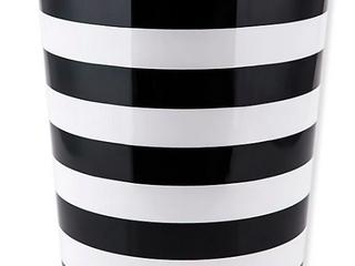 Derby Black and White Stripe Wastebasket