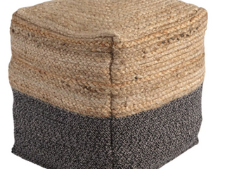 Sweed Valley Natural Straw and Black Pouf