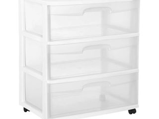 Sterilite 3 Drawer White Wide Cart With Castors