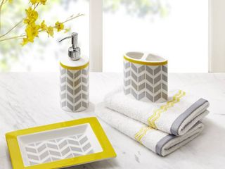 Elle 5 Piece Bath Accessories grey and yellow