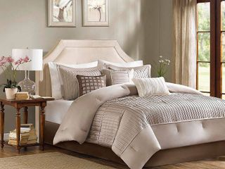 7pc Madison Park Taupe Vargas Comforter Set   King