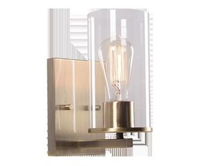 Kenroy Home 93572AB Hixon 1 light Sconce with Clear Glass Shades  Antique Brass