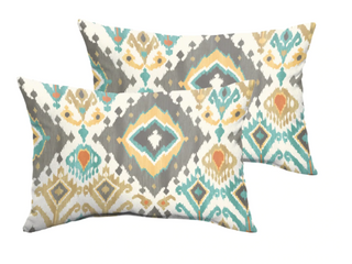 Selena Grey Aqua Ikat Indoor Outdoor Small long Throw Pillows