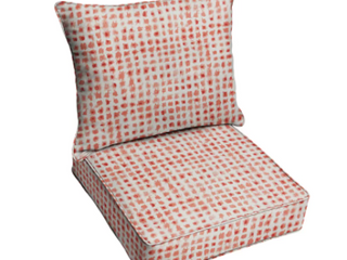 Geometeic Coral Deep Sesting Corded Chair Cushion Set
