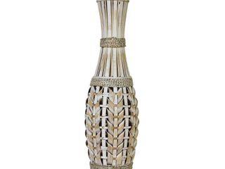 Stratton Home Decor White Bamboo Tall Vase