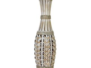 Stratton Home Decor White Bamboo Tall Vase