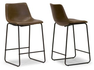Carbon loft Inyo Vintage leather Counter Height Stools  Set of 2