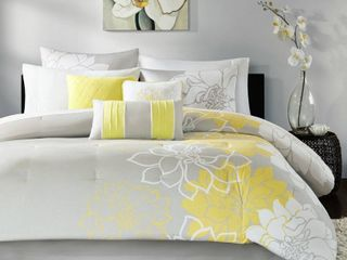 Madison Park Grey and Yellow Floral Comforter Set size 68 inch x 90 inch