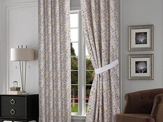 Tribeca living Fiji Chocolate Grey lined Cotton Grommet Top Curtain Panel Pair with Tiebacks 84 inch