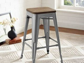 Carbon loft Bistro Wood Seat Gunmetal Finish Counter Stools  Set of 2