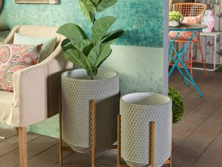 2 Piece Metal Floor Planters with Metal Stands  Retail 97 99