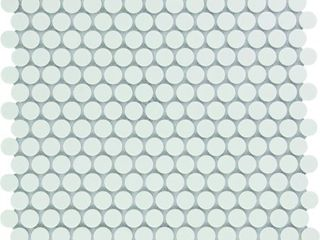 Venice Pennyround Glazed Porcelain Mosaic Tile Matte White Sample