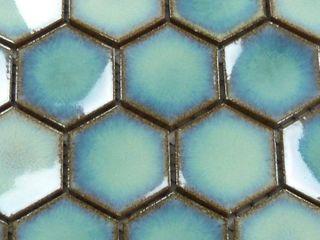 Glazed Porcelain Mosaic Tile Sheet Sevilla 6 x1  Finger Glossy Turquoise