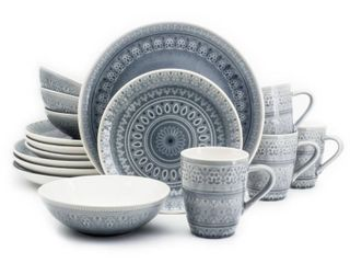 Euro Ceramica Fez 16 Piece Crackle Glaze Double Bowl Dinnerware Set  Retail 93 99
