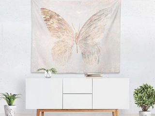 Oliver Gal Golden Butterfly Glimmer Wall Tapestry