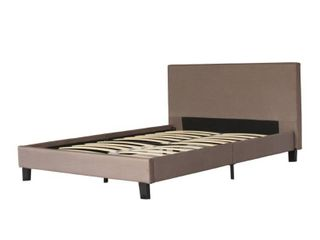 Full Sized Brown Fabric Upholstery Bed With Slats