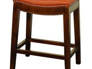 Elmo Bonded leather Bar Stool Pumpkin Color