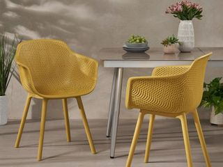 lotus Outdoor Modern Dining Chair  Set of 2