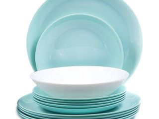 Dinner Set Round 18 Pieces White And Turquoise