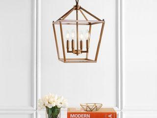 Pagoda 12  4 Bulb lantern Metal lED Pendant  Antique Gold by JONATHAN Y  Retail 124 87
