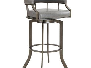 Pharaoh Swivel Mineral Finish and Grey Faux leather Bar Stool  Retail 259 49