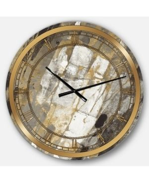 Designart  Gold  Black and White Hanpainted Abstract  Glam large Wall Clock  Retail 119 99
