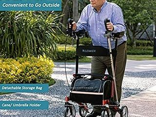 ElENKER Upright Walker  Stand Up Folding Rollator Walker with 10a Front Wheels  Padded Armrests  Seat and Backrest for Seniors and Adults