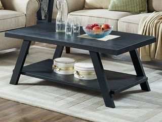 Roundhill Athens Contemporary Wood Shelf Coffee Table in Black Finish