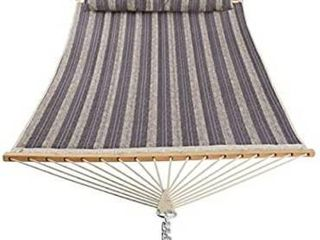 Patio Watcher 11 Feet Quilted Fabric Hammock with Pillow  Double Hammock with Bamboo Wood Spreader Bars  Perfect for Outdoor Patio Yard  Gray