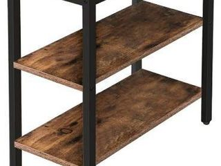 HOOBRO End Table  Simple Rustic Side Table with 3 Tier Storage Shelf  Narrow Nightstand for Small Spaces  Easy Assembly  for living Room  Entryway  Metal  Industrial Design  Rustic Brown BF14BZ01