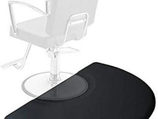 Saloniture 3 ft  x 4 ft  Salon   Barber Shop Chair Anti Fatigue Mat   Black Semi Circle   5 8 in  Thick
