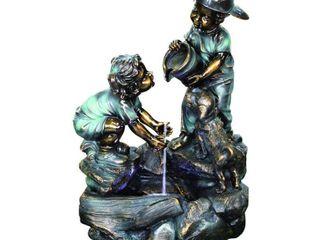 BECKETT A Helping Hand Boy and Girl Fountain  Bronze copper metallic