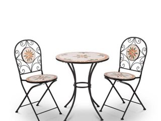 Mosaic 3 Piece Outdoor Bistro Set POSSIBlY MISSING PIECES AND HARDWARE