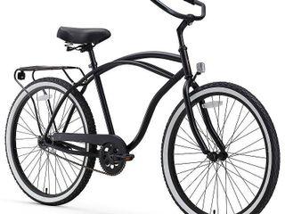 sixthreezero Around The Block Men s 26 Inch Single Speed Cruiser Bike  Matte Black  18    One Size