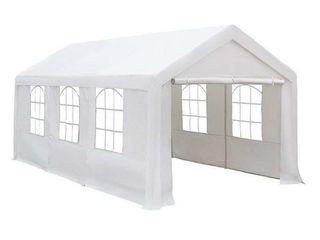 10 x 20 Feet Heavy Duty Carport  Canopy with Windows and Sidewalls  White