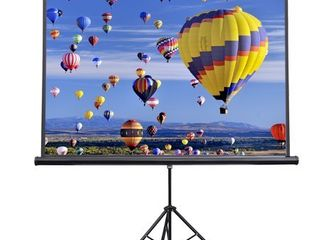 vivo 84  portable indoor outdoor projector screen  84 inch diagonal projection hd 4 3 projection pull up foldable stand tripod  ps t 084