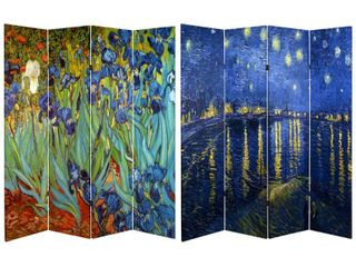 Van Gogh Fine Art Double Sided Room Divider Starry Night and Irises   Oriental Furniture